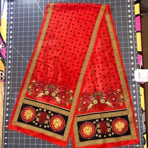 """Royal Red"" vintage long tail head scarf"